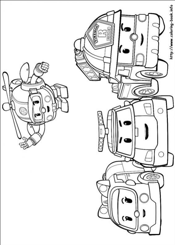 ภาพวาดระบายสีRobocar poli 24