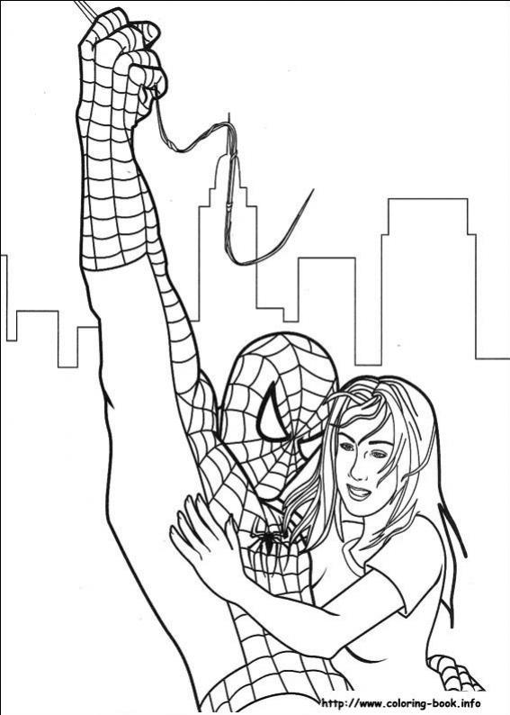 ภาพวาดระบายสี สไปเดอร์แมน Spiderman ตัวการ์ตูนฮีโร่ที่