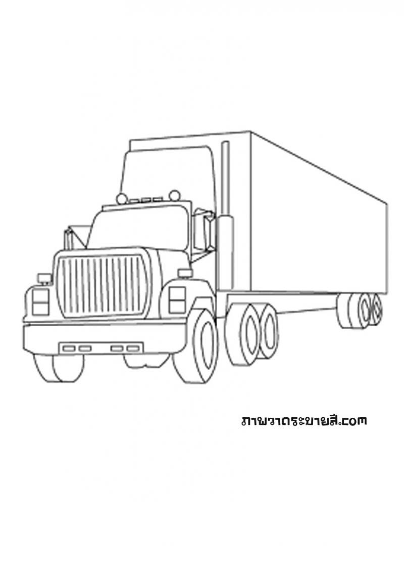 ภาพวาดระบายสีรถบรรทุก 10 ล้อ